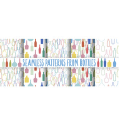 set of wine bottles pattern vector image