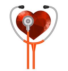 stethoscope heart symbol vector image vector image