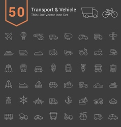 Transport and vehicle thin icon set vector