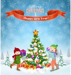 kids decorating a Christmas tree vector image
