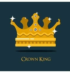 Crest or king queen golden crown vector