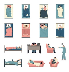 Sleeping people flat icons set vector
