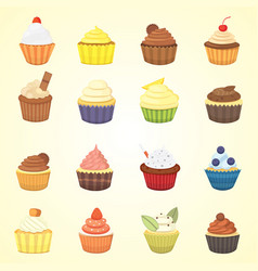 Set of cute cupcakes and muffins colorful vector