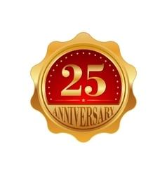 25 years anniversary golden label vector image vector image