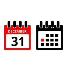31 December calendar icon vector image