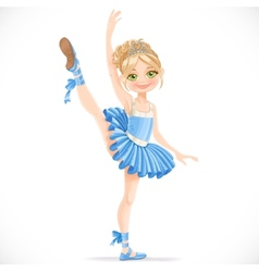 Blond ballerina girl dancing in blue dress vector