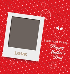 Blank instant photo frame lovely on red mothers vector