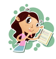 Girl taking notes vector