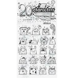 Set of 20 doodle hand drawn cartoon vector image