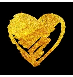 Golden glitter grunge heart isolated on black vector