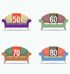 Set of vintage sofas on sale vector