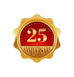25 years anniversary golden label vector