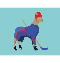Hockey dog mascot in blue sportswear vector