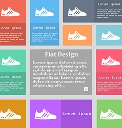 Sneakers icon sign set of multicolored buttons vector