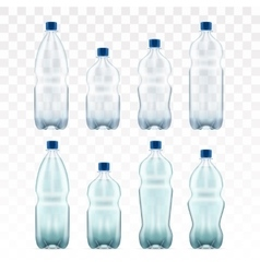Set of blank plastic blue water bottles vector