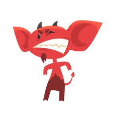 Angry devil standing in threatening pose and vector