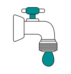 Color silhouette image cartoon watertap with drop vector