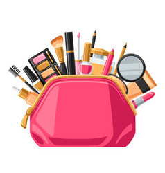 Cosmetics for skincare and makeup in bag vector