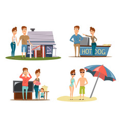 Couple vacation compositions set vector
