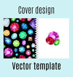 Cover design with jewels gem pattern vector