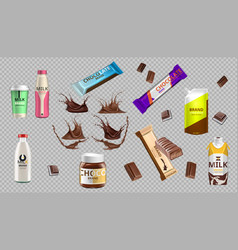 digital realistic chocolate and milk bottle vector image