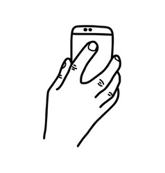 hand holding back of mobile phone vector image vector image