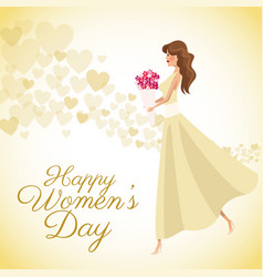 Happy womens day card girl bouquet flowers heart vector