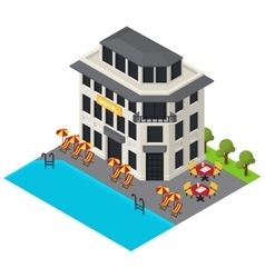 isometric hotel building icon vector image