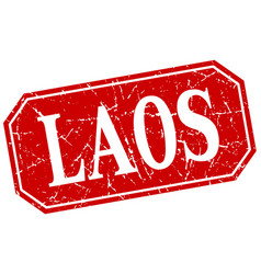 Laos red square grunge retro style sign vector