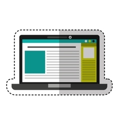 Laptop computer with template isolated icon vector