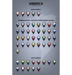 Map markers with flags - America Original colors vector image