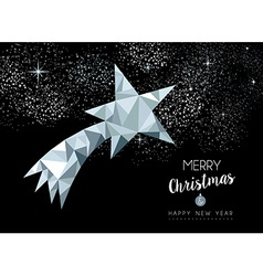 Merry christmas greeting card with silver star vector image vector image