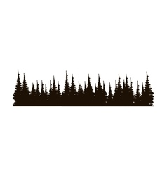 Monochrome panoramic forest with pines vector