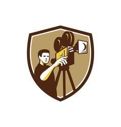 Movie Director Movie Film Camera Shield Retro vector image vector image