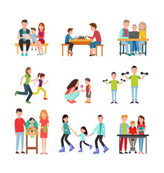 parents spend time with children set vector image vector image