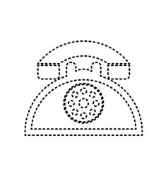 Retro telephone sign black dashed icon on vector