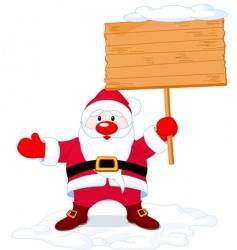santa claus holding board sign vector image vector image