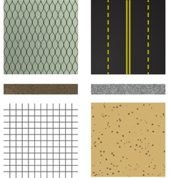 set of asphalt road textures vector image