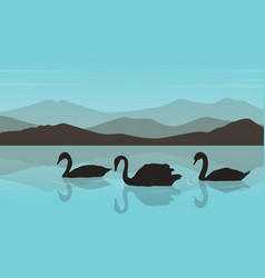 silhouette of swan in the river with mountain vector image