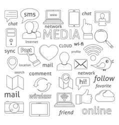 Social network icons composition vector image vector image