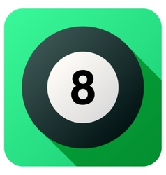 Sport icon with billiard ball in flat style vector image vector image