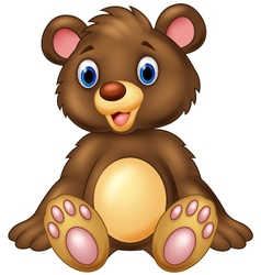 Teddy bear sitting and adorable with cute smileTed vector image vector image