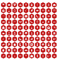 100 flowers icons hexagon red vector