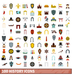 100 history icons set flat style vector