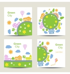 Set of four square card silhouette of green city vector