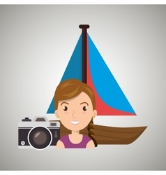 Woman camera tickets travel vector