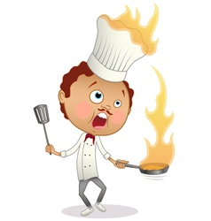 Cartoon chef cooking a flambe with his hat in fire vector