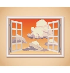 Window with sunset view clouds vector