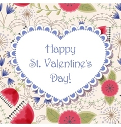 Happy St valentines day floral card vector image