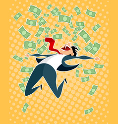 lucky businessman jumping vector image